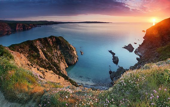 pembrokeshire coast at sunset in wales england