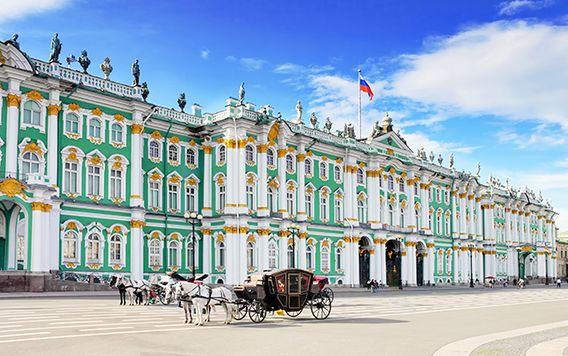 bright green and gold marked hermitage museum in st peterburg russia