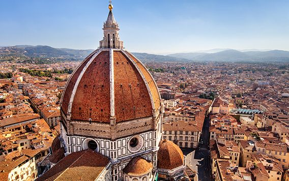 birds eye view of the duomo in florence, italy