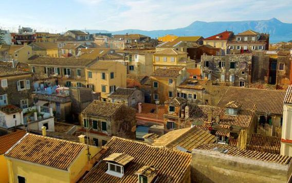 roof tops of buildings in corfu greece