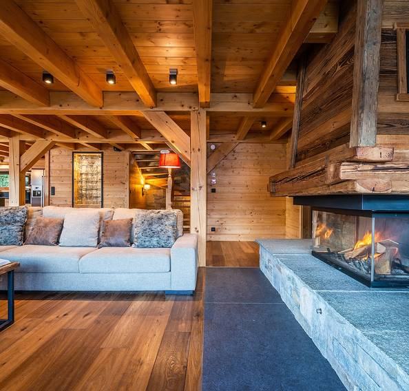 Cosy living room of Abachi luxury chalet in Les Gets