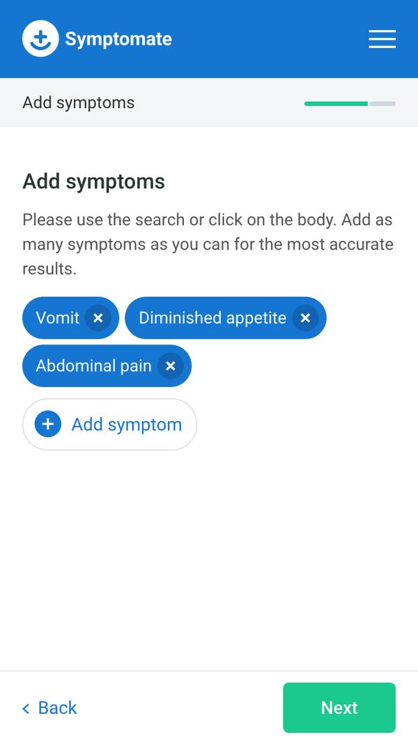 Symptomate screen - add your symptoms