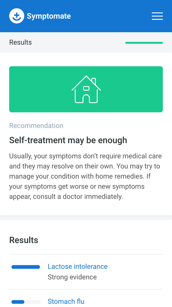 Symptomate screen - results