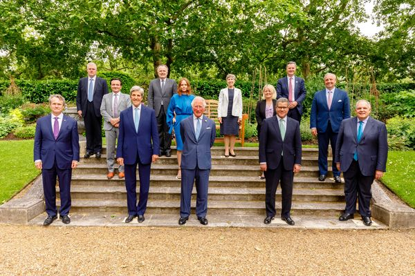 HRH hosted a reception on Thursday 10th June at St James Palace for the 10 CEO's who were joined by the United States Special Presidential Envoy for Climate, Secretary John Kerry, and Alok Sharma, President Designate of the 26th United Nations Climate Change Conference.