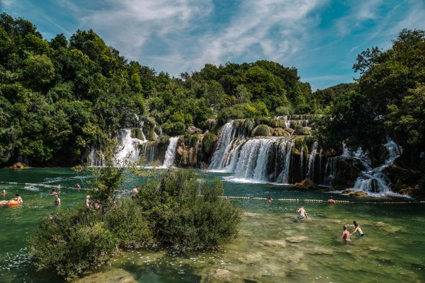 Swimming in the waterfalls at Krka National Park