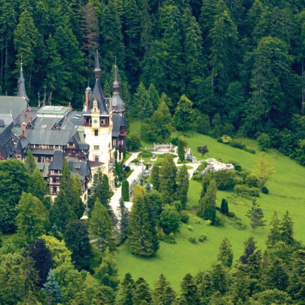 above view of peles castle in romania