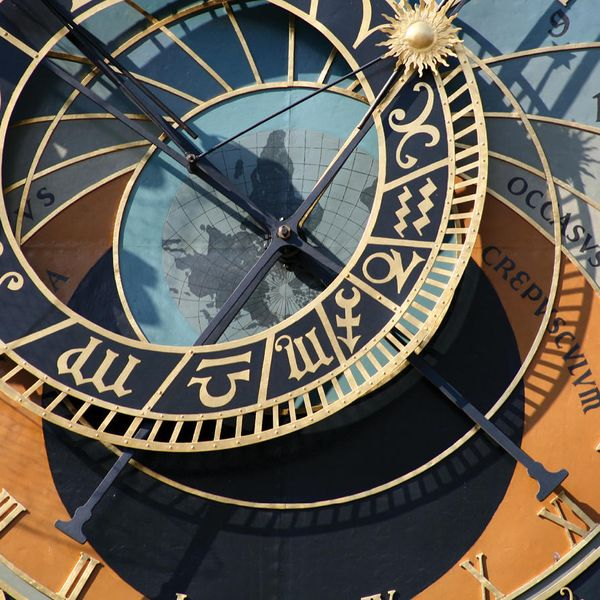 close up of the prague astronomical clock in prague czech republic