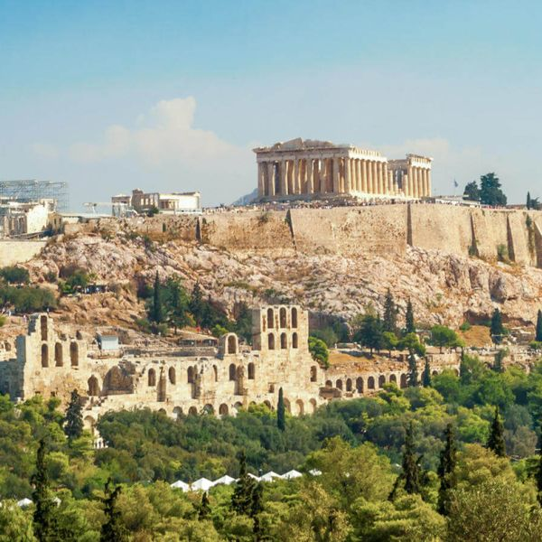 scenic panoramic view of the acropolis of athens in greece
