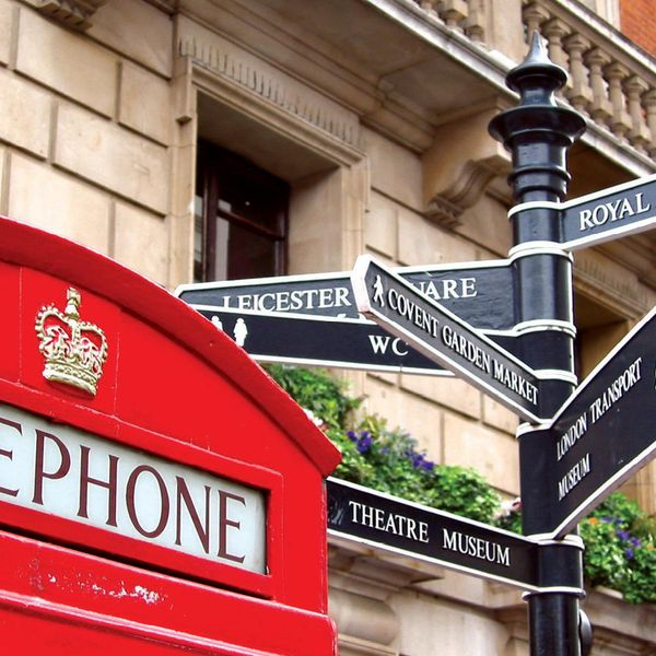 top of red telephone booth and street sign in london england