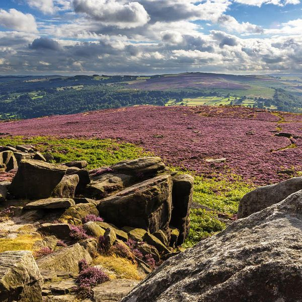 rocky valley in peak district national park in england