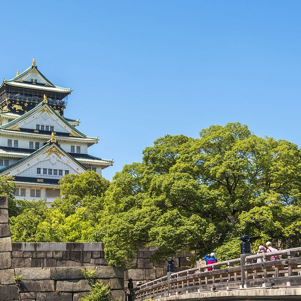 osaka castle surrounded by green trees in japan