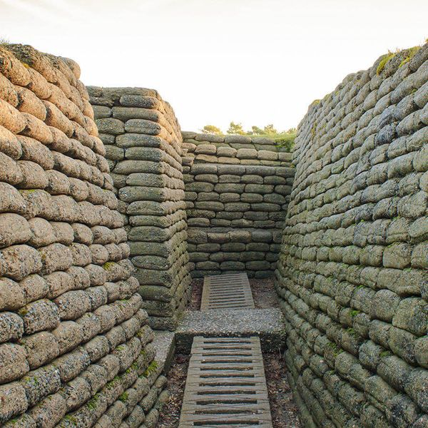 trenches walled with sandbags at vimy ridge