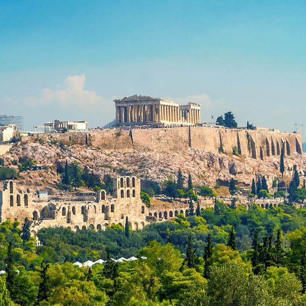 acropolis of athens on top of hill in athens greece