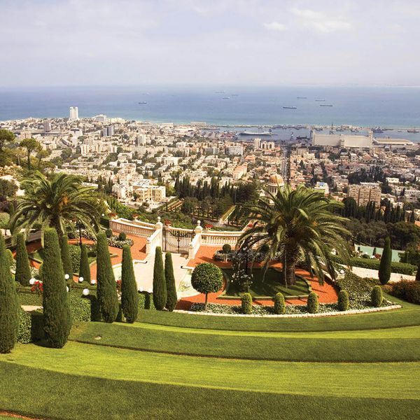 looking down at bahai gardens with view of haifa