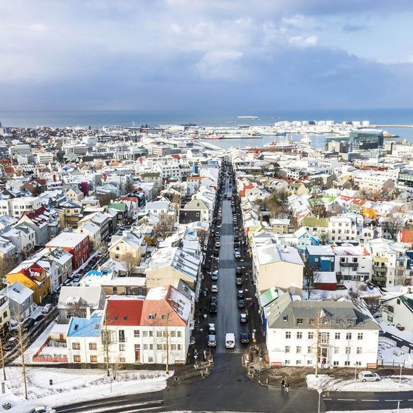 aerial view over the city of reykjavik iceland during the winter