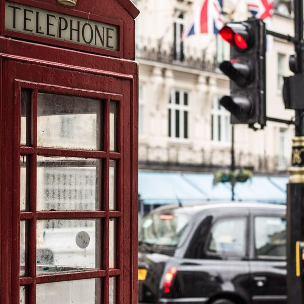 a classic red telephone booth in london england
