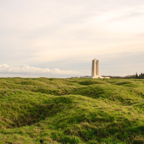memorial at vimy ridge looking across shell crater field