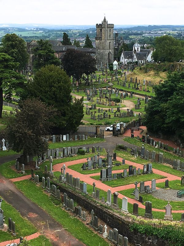 grave yard surrounding stirling castle in scotland