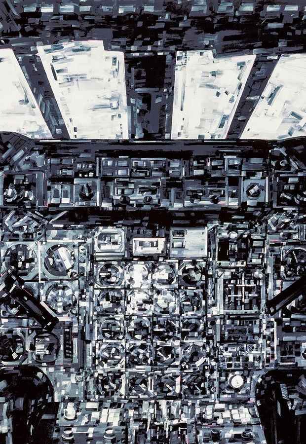 a monochromatic painting of a cockpit in sharp-edged brushstrokes