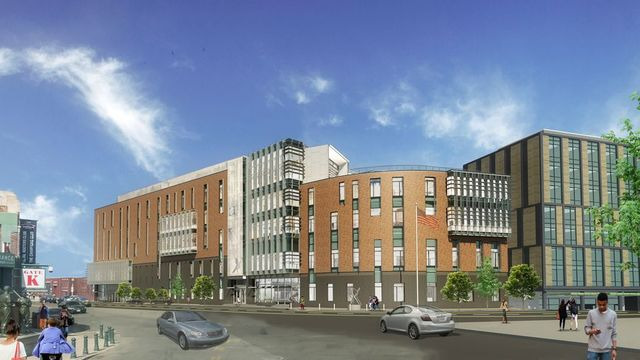 Rendering of a three story building on a street corner.