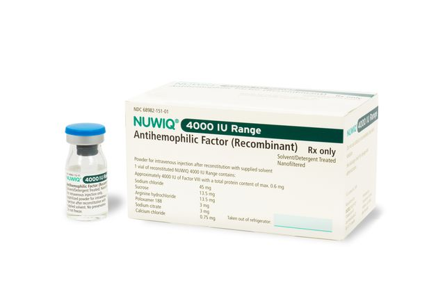 Packshot of NUWIQ® - human coagulation factor VIII (rDNA), (simoctocog alfa)