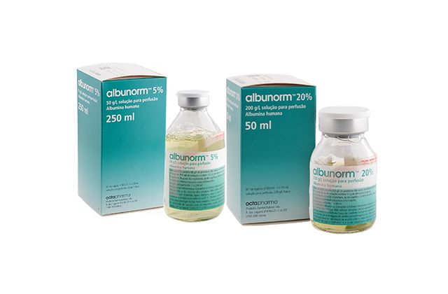 Packshot of albunorm® human albumin solution in different package sizes