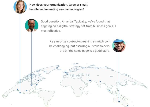 Digital globe showing construction communication worldwide