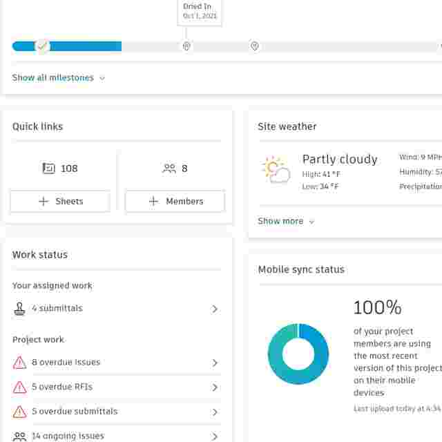 View real-time project status data in Construction Dashboards and Data Analytics.