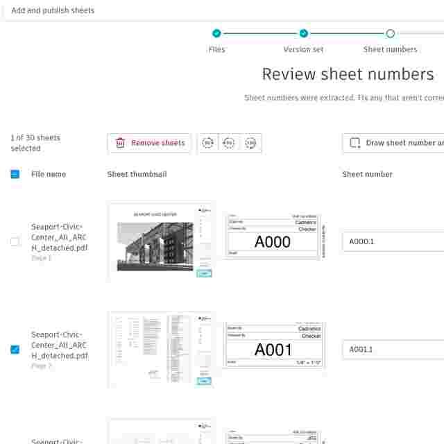 Construction Drawings Software Screenshot of Sheet lists.