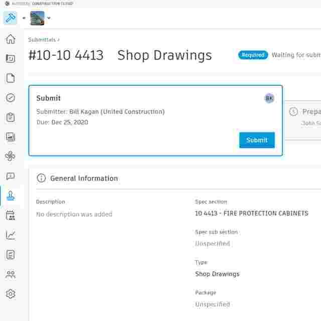 Construction submittal tracking software with Autodesk Build