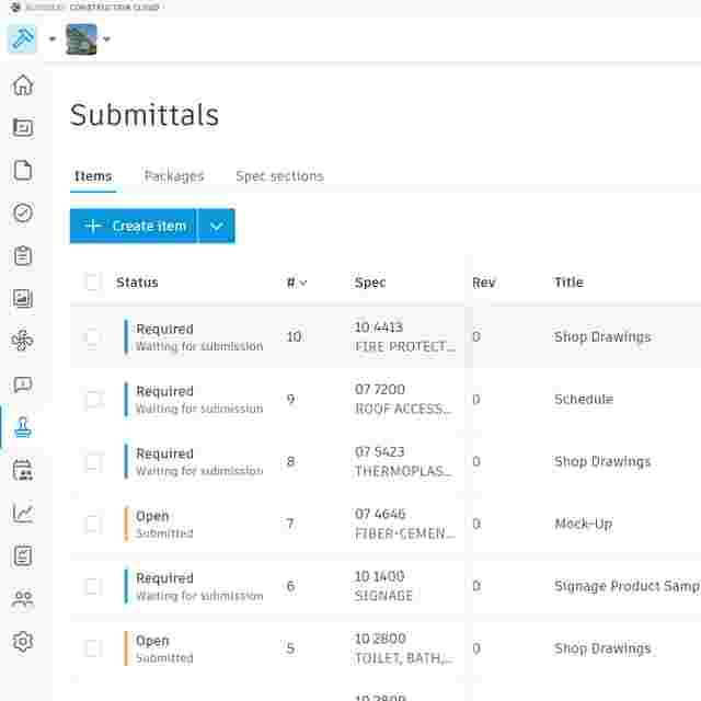Construction submittal log in Autodesk Build, Construction Submittal Software.