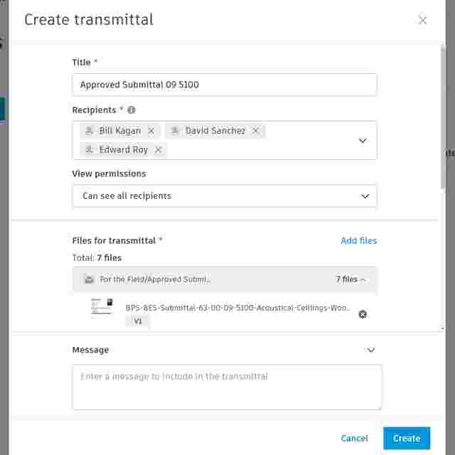 Screenshot of construction transmittal software.