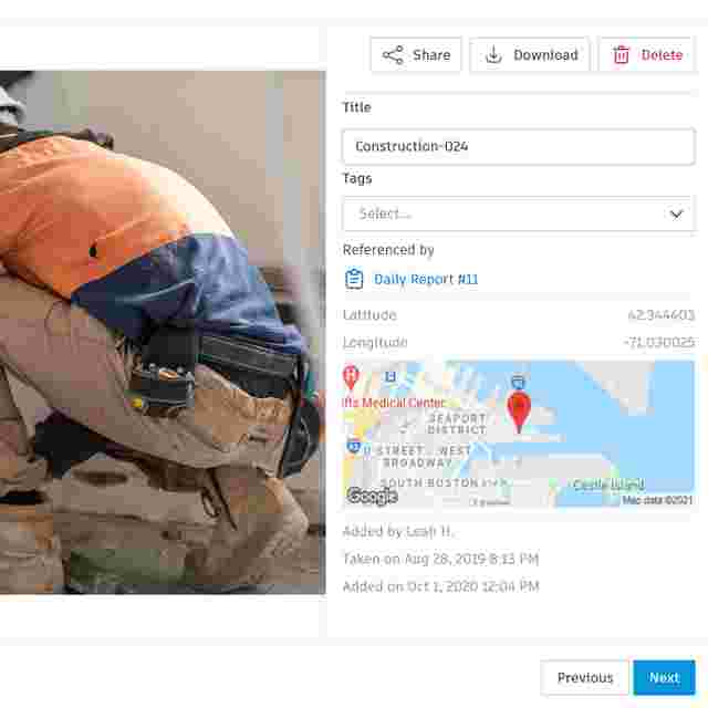 Photo Management Software for Construction storing photos with location data