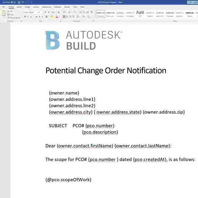 Construction change order documentation in Construction Change Order Tracking Software.