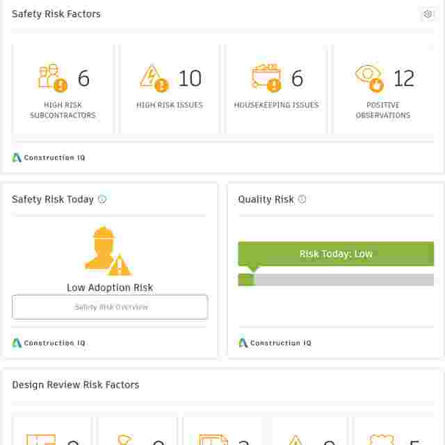 High Risk Project Data in Construction Dashboards and Data Analytics.