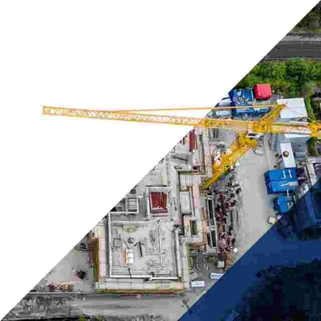 Birds eye view of a crane over a construction site.