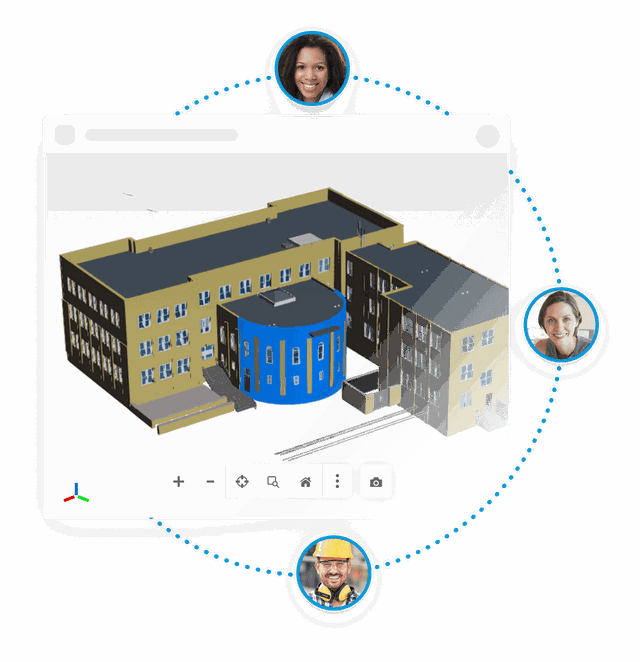 view of the 3D model with people collaborating