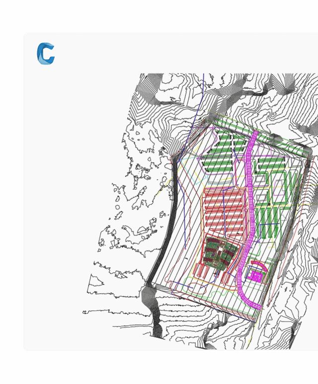Civil 3D drawing showing topographic map with design information over laid showing how to design better infrastructure.