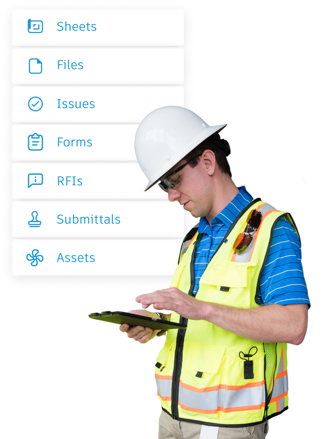 Construction worker accessing project data on a remote jobsite