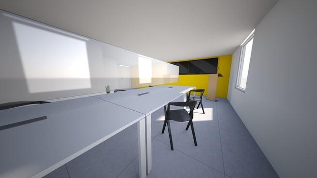 A mock up of our teaching space with additional safety measures and distancing