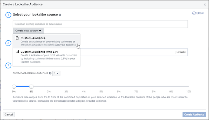 New source & customer audience in Facebook Business Manager