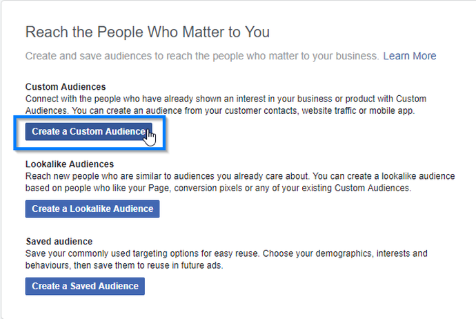 Create a Custom Audience in Facebook Business Manager