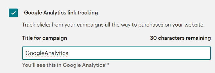 Google Analytics in MailChimp link tracking