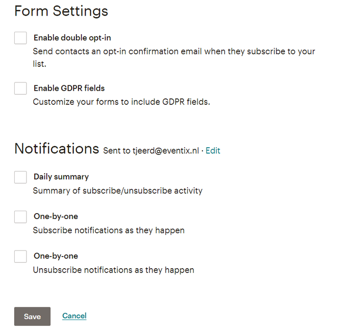 Form settings, opt-in en GDPR in MailChimp