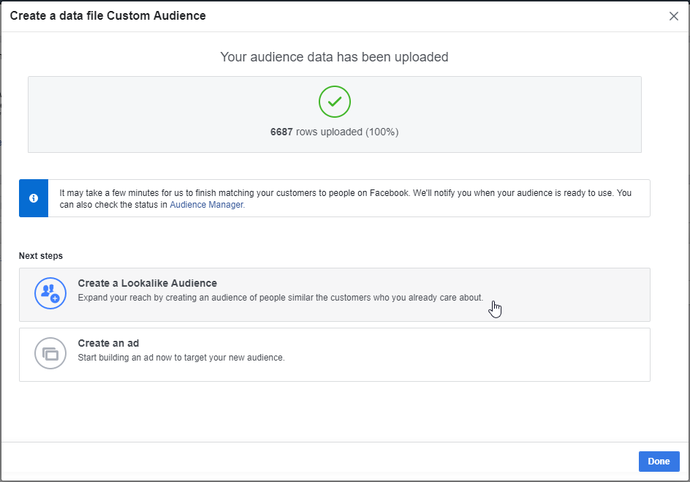 Create lookalike audience in Facebook
