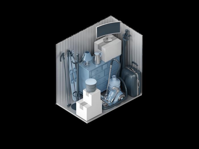 Grafische Ansicht der Lagerraum-Größe XS bei XXLAGER