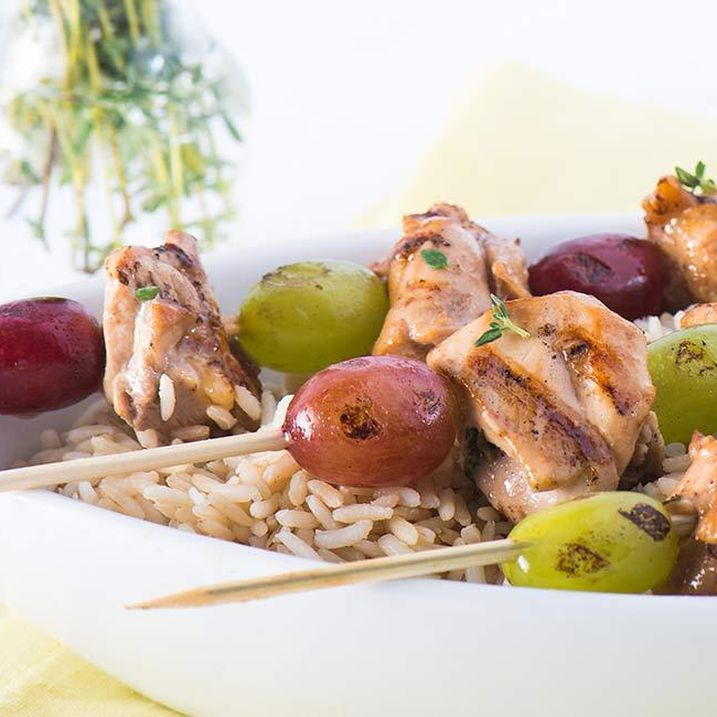 Chicken and Grape Kebabs with Thyme