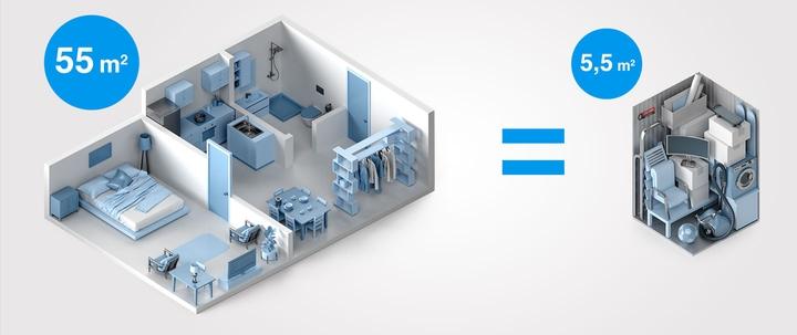 3D-Grafik stellt Lagerfläche einer Wohnung dar