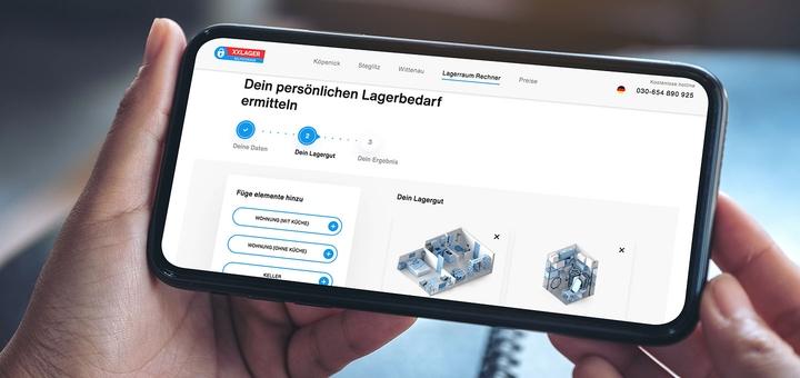 XXLAGER Lagerraum-Rechner auf Smartphone
