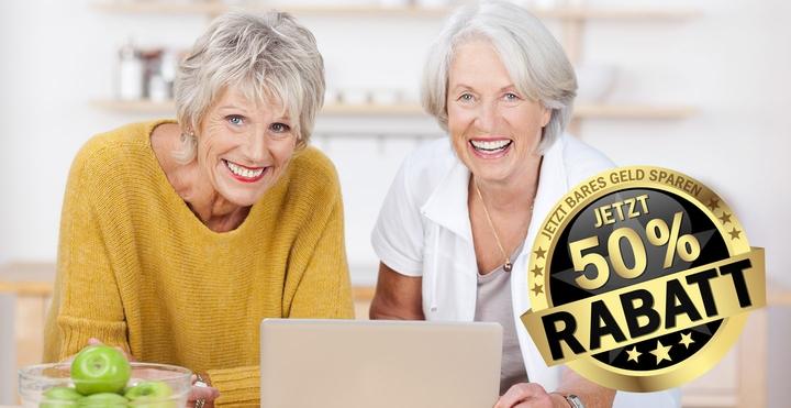 Frauen freuen sich über Preisaktion Kunden werben Kunden